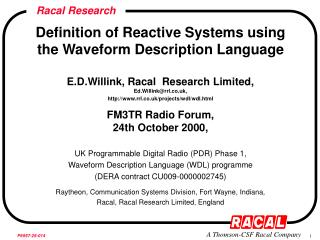 Definition of Reactive Systems using the Waveform Description Language