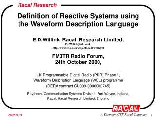 Definition of Reactive Systems using the Waveform Description Language