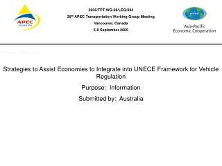 Strategies to Assist Economies to Integrate into UNECE Framework for Vehicle Regulation