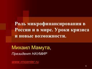 Роль микрофинансирования в России и в мире. Уроки кризиса и новые возможности.