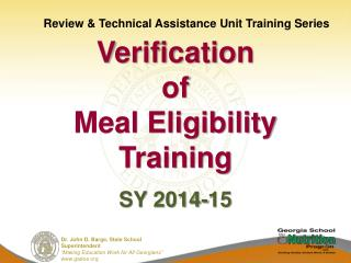 Verification of Meal Eligibility Training SY 2014-15