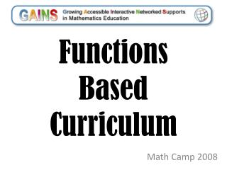 Functions Based Curriculum