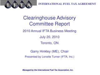 Clearinghouse Advisory Committee Report