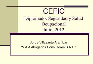 CEFIC Diplomado: Seguridad y Salud Ocupacional Julio, 2012
