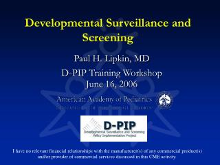 Developmental Surveillance and Screening