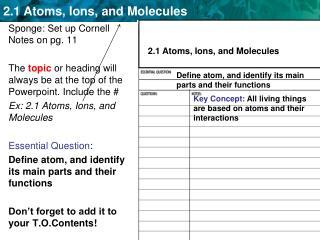 Sponge: Set up Cornell Notes on pg. 11