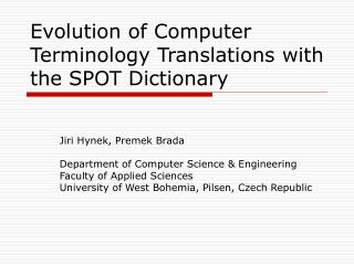 Evolution of Computer Terminology Translations with the SPOT Dictionary