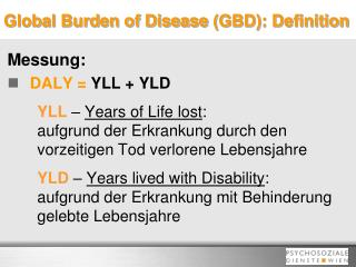 Global Burden of Disease  (GBD): Definition