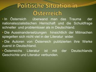 Politische  Situation in  Österreich
