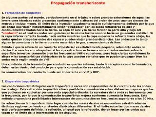 Propagación transhorizonte 1.  Formación de conductos