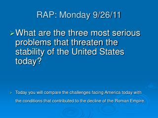 RAP: Monday 9/26/11