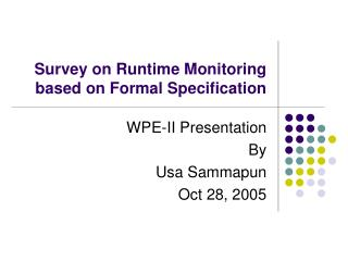 Survey on Runtime Monitoring based on Formal Specification