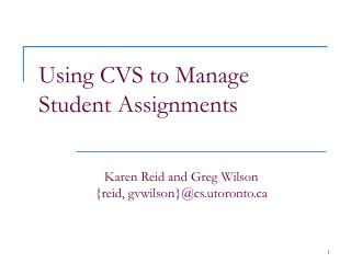 Using CVS to Manage Student Assignments