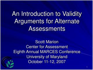 An Introduction to Validity Arguments for Alternate Assessments