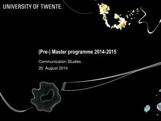 (Pre-) Master programme 2014-2015