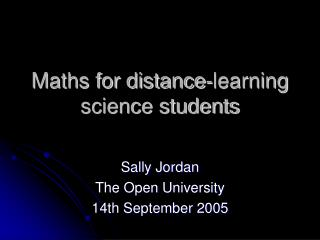 Maths for distance-learning science students