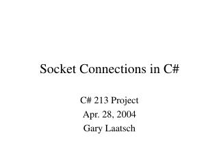 Socket Connections in C#