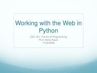 Working with the Web in Python