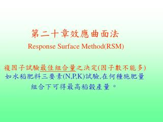 RSM 試驗過程 AxB=2x2 複因子試驗加 五個中心點 作為重複 , 以便估算試驗誤差