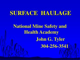 SURFACE  HAULAGE