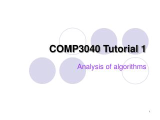 COMP 3040  Tutorial  1