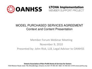 MODEL PURCHASED SERVICES AGREEMENT Context and Content Presentation