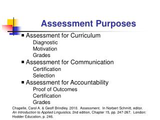 Assessment Purposes