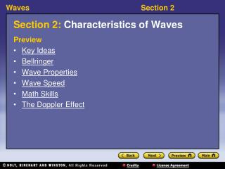 Section 2:  Characteristics of Waves