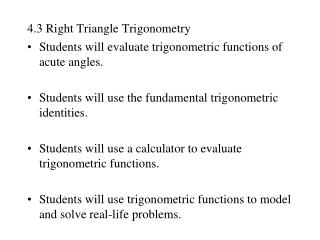 4.3 Right Triangle Trigonometry