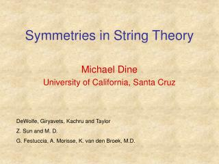 Symmetries in String Theory