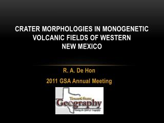 Crater Morphologies in Monogenetic Volcanic Fields of Western  New Mexico