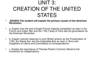 UNIT 3: CREATION OF THE UNITED STATES
