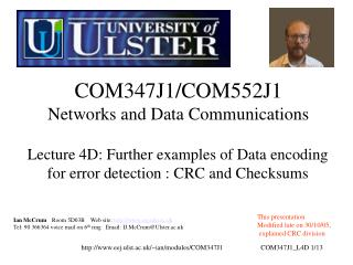 COM347J1/COM552J1 Networks and Data Communications
