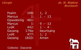 Liturgie ds. W. BlijdorpBrunssum