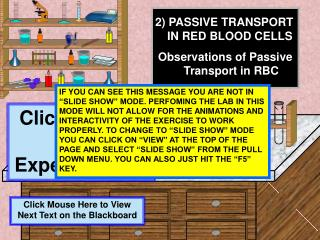 2) PASSIVE TRANSPORT IN RED BLOOD CELLS Observations of Passive Transport in RBC