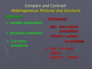 Compare and Contrast:   Heterogeneous Mixtures and Solutions