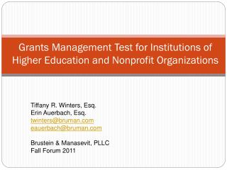 Grants Management Test for Institutions of Higher Education and Nonprofit Organizations