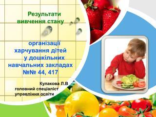 Результати   вивчення стану організації харчування дітей