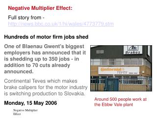 Negative Multiplier Effect:  Full story from -  news.bbc.co.uk/1/hi/wales/4773779.stm
