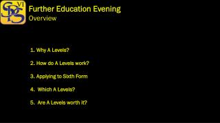 Further Education Evening Overview