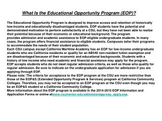 What Is the Educational Opportunity Program (EOP)?