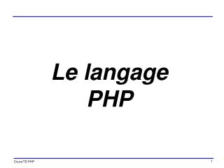 Le langage PHP