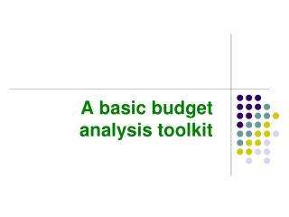 A basic budget analysis toolkit