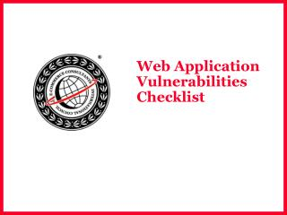 Web Application Vulnerabilities Checklist