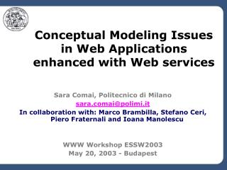 Conceptual Modeling Issues in Web Applications enhanced with Web services
