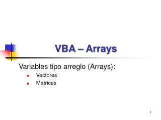 VBA – Arrays