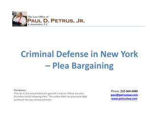 Criminal Defense in New York – Plea Bargaining
