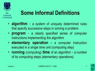 Some Informal Definitions