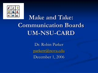 Make and Take: Communication Boards UM-NSU-CARD