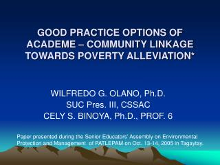 GOOD PRACTICE OPTIONS OF ACADEME   COMMUNITY LINKAGE TOWARDS POVERTY ALLEVIATION